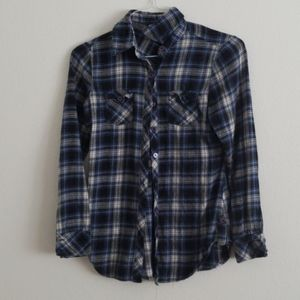 Womens Blue Plaid Button Up Shirt